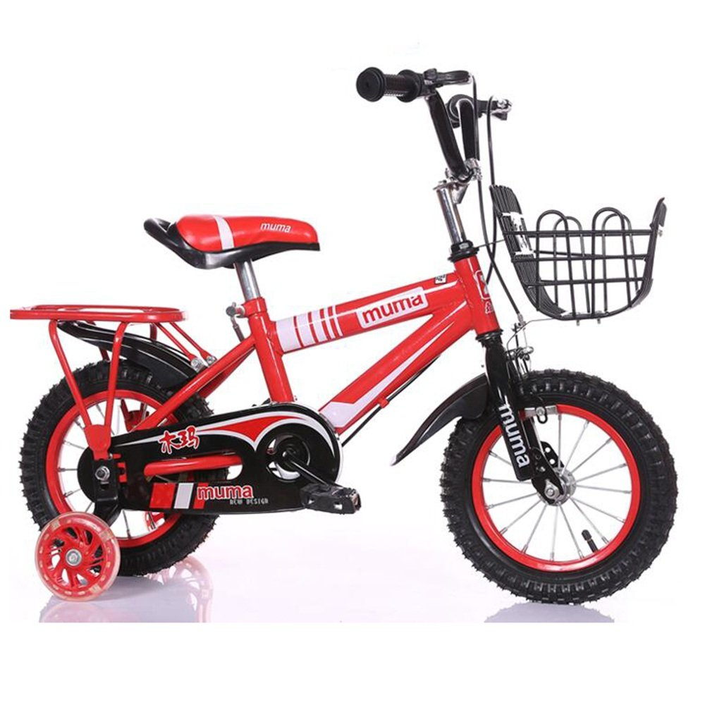 HAIZHEN マウンテンバイク 子供用の自転車、トレーニングホイール付きユニセックス子供用自転車、様々なトレンディな機能、12,14,16および18インチ、おしゃれな男の子と女の子のための贈り物 新生児 B07C3TN7Y8 18 inch|赤 赤 18 inch