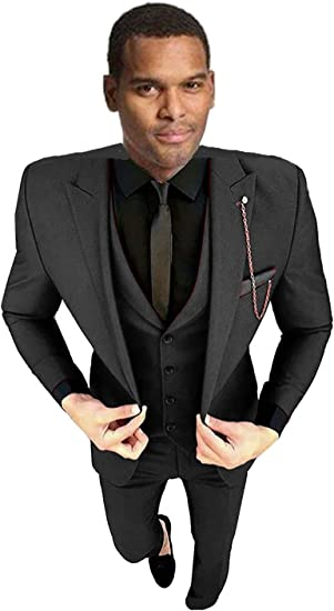 Lilis Mens Slim Fit 3 Piece Suit Dinner Tuxedo Wedding Blazer Jackets Vest/&Trousers