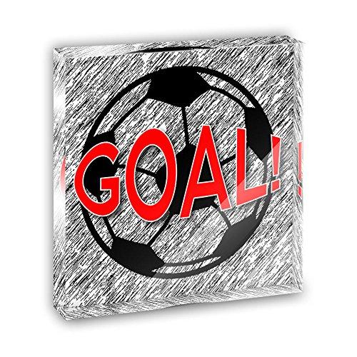 Goal with Soccer Ball Acrylic Office Mini Desk Plaque Ornament (Goal Plaque)