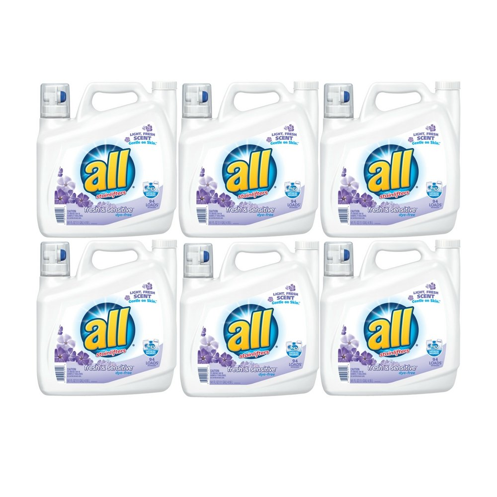 all Liquid Laundry Detergent, Fresh & Sensitive, 141 Ounces, 94 Loads (6 Pack) by all (Image #1)