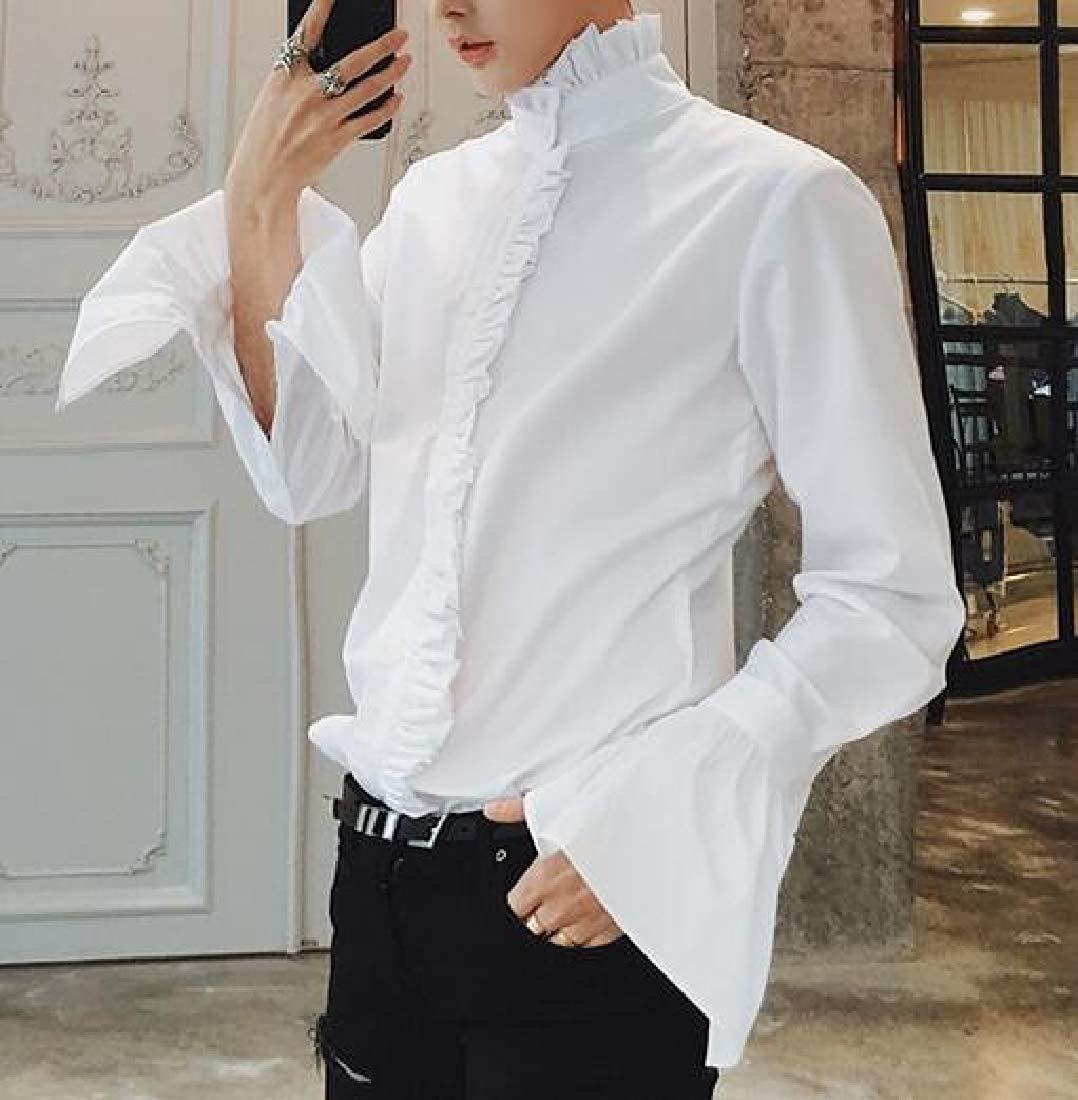 Cromoncent Mens Ruffles Flare Sleeve Slim Button Down Shirt