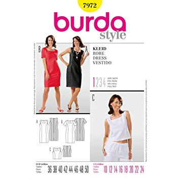 Burda Schnittmuster 7972 Kleid Gr. 38-50 (Sizes 12-24): Amazon.de ...