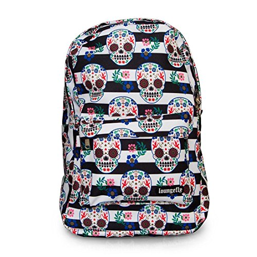 Colorful Striped Sugar Skull Fashion School Backpack by Loungefly