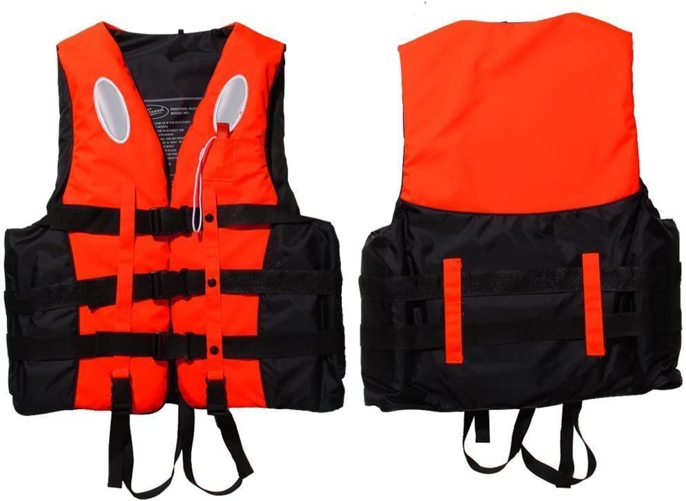 Yosoo Children and Adult Life Jacket Buoyancy Aid Universal Swimming Boating Kayaking Life Vest+Whistle S-XXL 5 Sizes Suit for 25-110 KG
