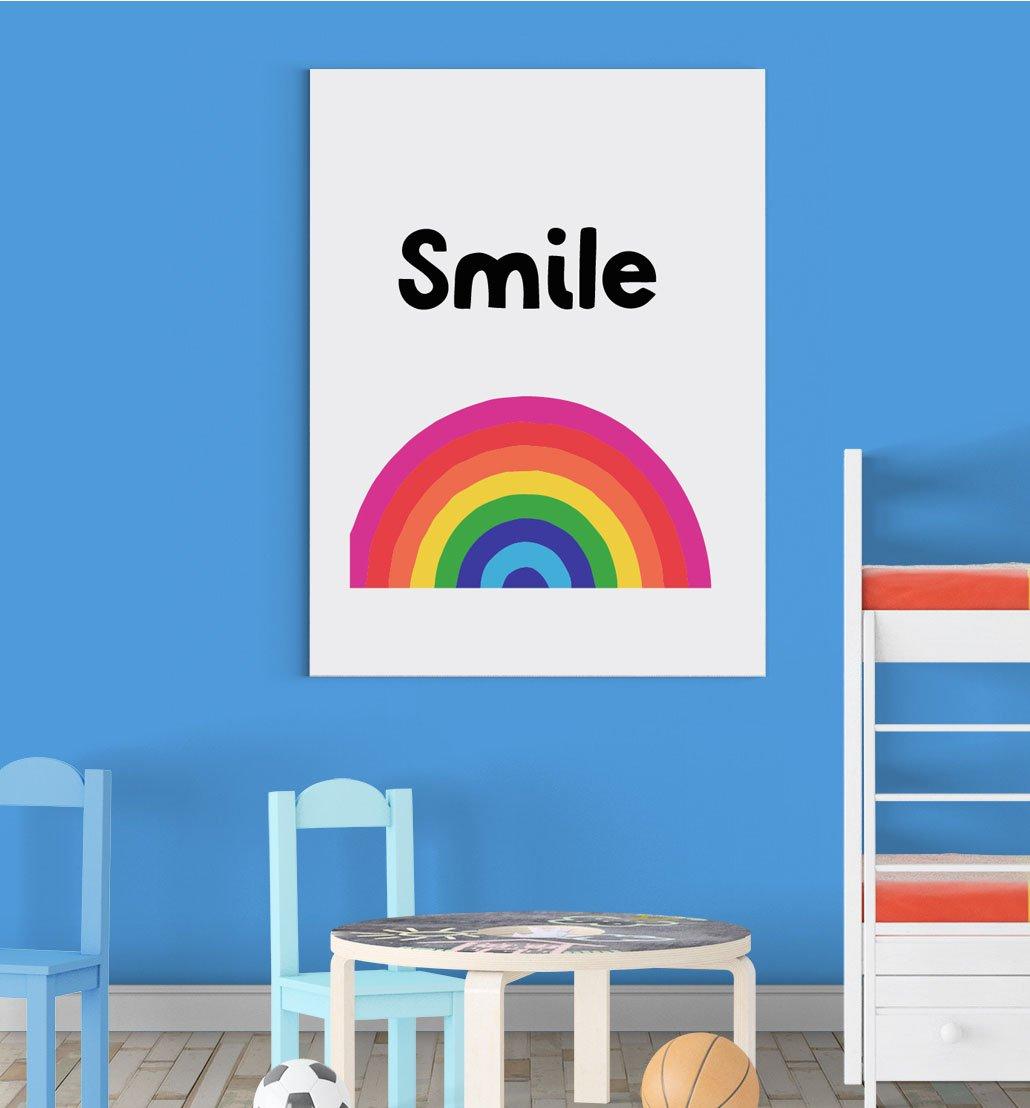Smile Rainbow Nursery Bedroom Boys Girls Wall Decor Art Poster Print Inspired Walls®