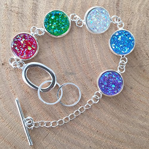 80's Preppy Costume Ideas (Faux Druzy Silver Tone Bracelet - red, green, clear, blue, and purple stones)