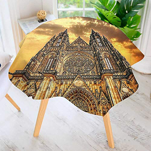 Circular Table Cover Washable Polyester-Famous Cathedral European Church Catholic Gifts Sunset Tower Medieval Architecture Prague Picture Stain Resistant Wrinkle Free Dust Table Cover 40