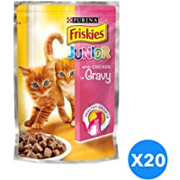 Purina Friskies Junior with Chicken in Gravy Cat Food Single Serve Pouch 100g (20 Pouches)
