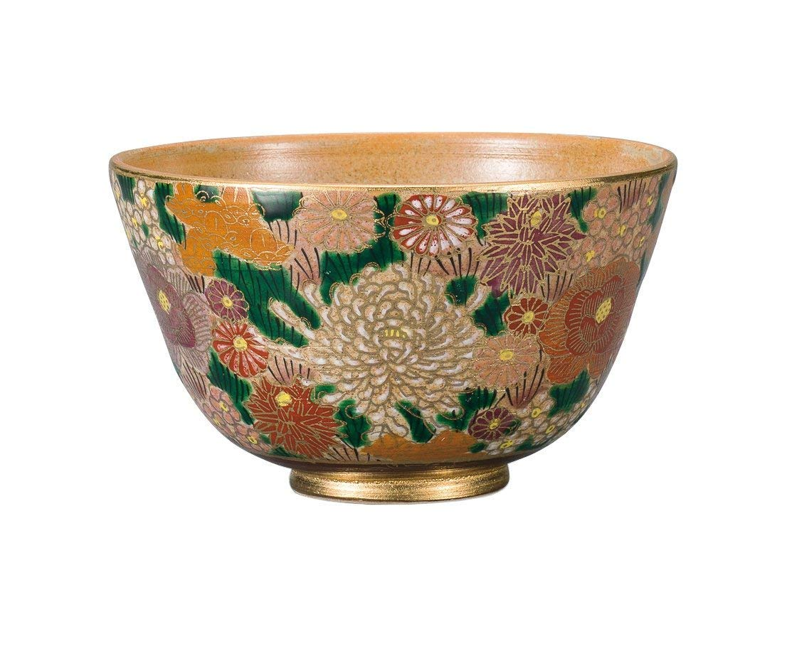 KUTANI Ware Matcha Bowl Gold flower