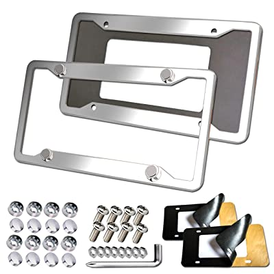 Aootf Stainless Steel License Plate Frames - 2PC Mirror Polish License Plate Cover Tag Holder with Corrosion Resistant Security Anti-Theft Screw Caps & Adhesive Backed Foam Anti-Rattle Pads: Automotive