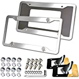 Aootf Stainless Steel License Plate Frames - 2PC Mirror Polish License Plate Cover Tag Holder with Corrosion Resistant Securi