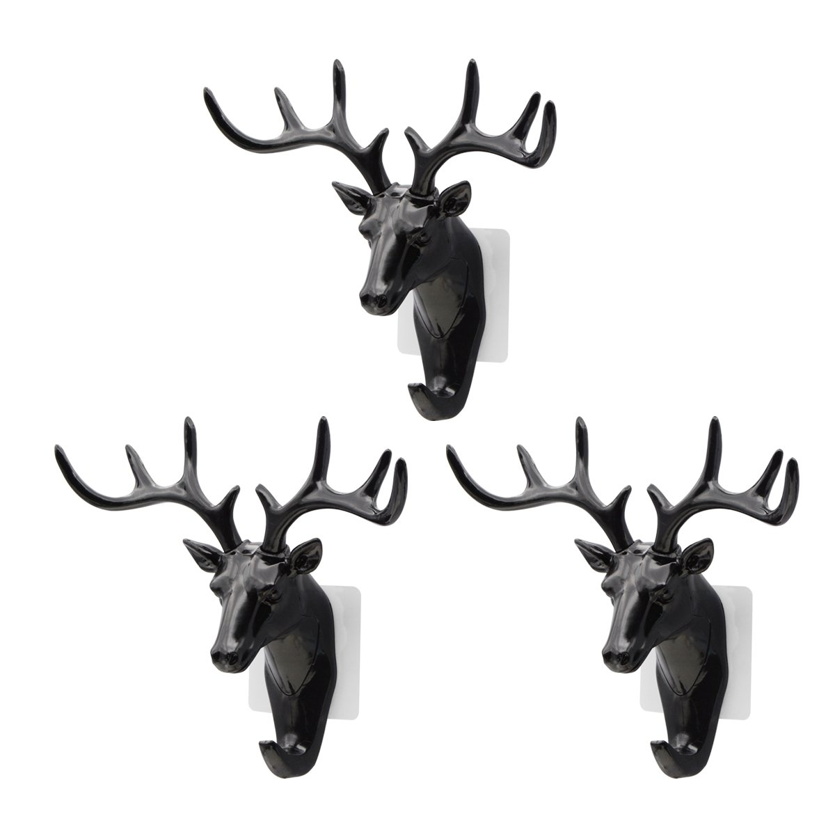 Saim Creative Plastic Hooks Wall Decor Deer Head Animal Self Clothing Jewelry Display Racks Non - Streaking Coat Cap Bag Keys Hanger Hook, Black, 3Pcs