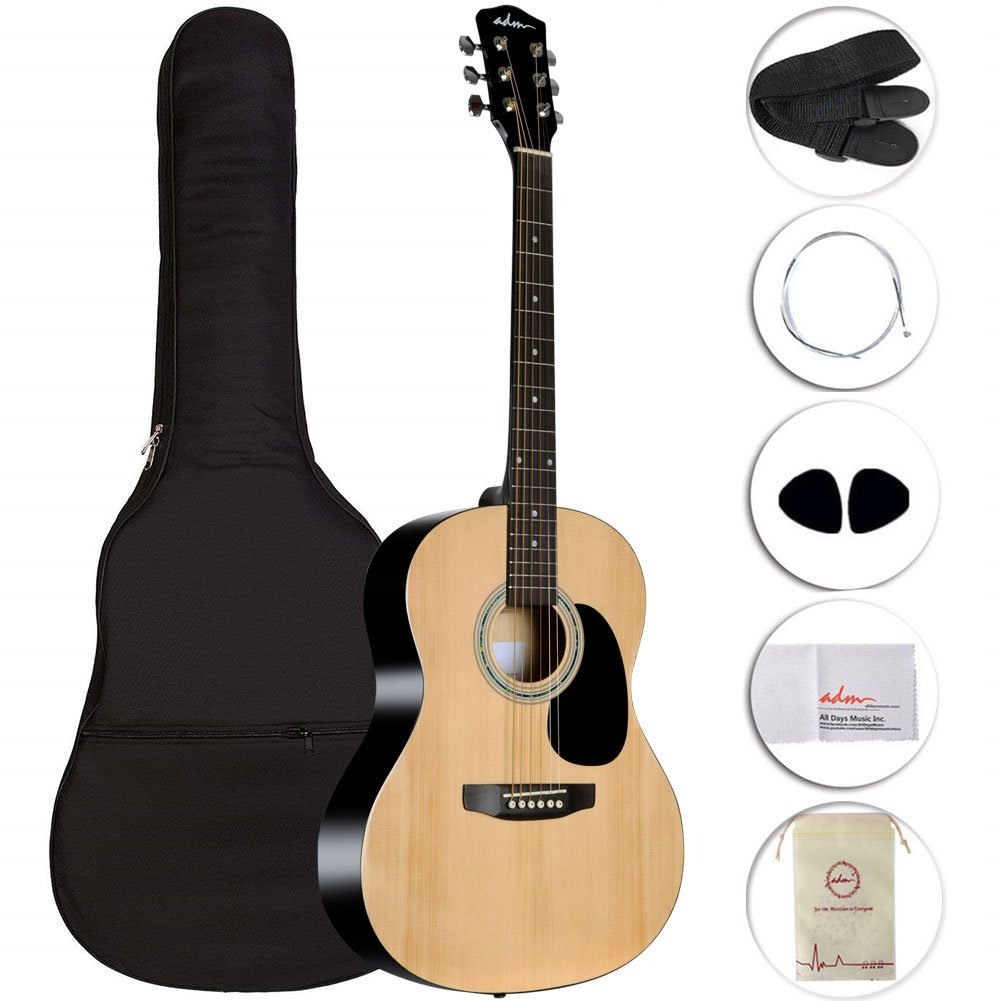 ADM Acoustic Guitar 39 Inch for Music Player Guitarist Buddle with Gig Bag, Strings, Strap, Picks and Polishing Cloth JA606