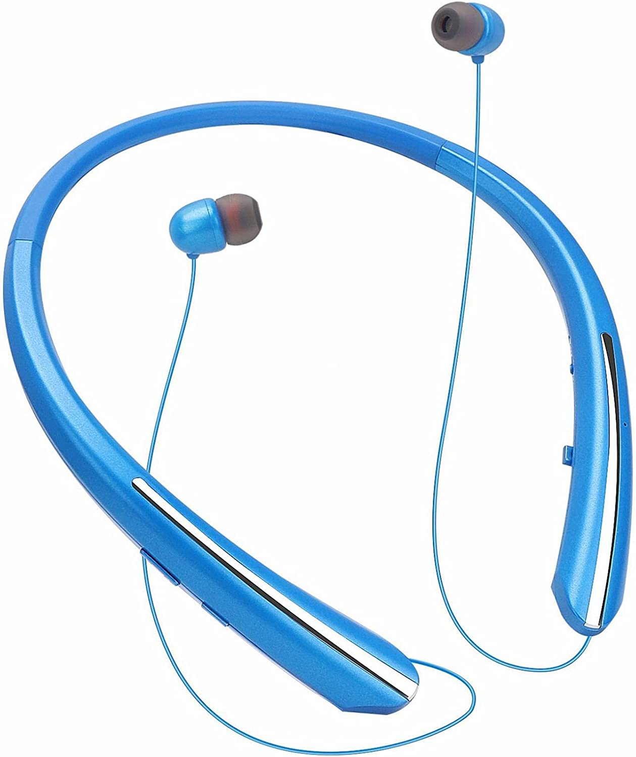 Bluetooth Neckband Headphones, Retractable Earbuds Wireless Headset Sports Noise Cancelling Stereo Earphones with Microphone Compatible with iPhone, Android, Samsung, iPad,PC (Blue)