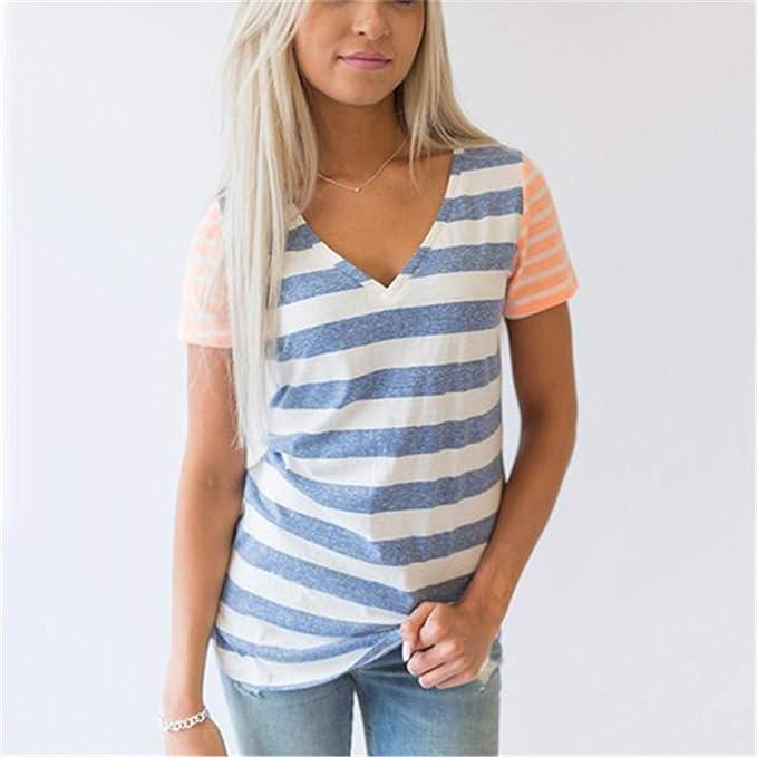 63cf6beb15 SincerityS Dresses Clothing T-Shirt Tops Short Sleeve V-Neck Striped Print T  Shirts