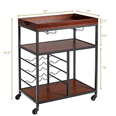Buy Giantex 3 Tier Kitchen Island Cart Rolling Trolley Industrial Style Serving Cart Utility Cart Wood Kitchen Stand With Glasses Holder And 9 Wine Bottles Rack Metal Frame And Castors Rustic Brown Online