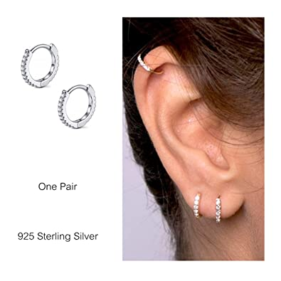 0dcfc0c69eec5 925 Sterling Silver Hoop Earrings Cubic Zirconia Cartilage Earring for  Women Girls Small Huggie Piercing Earings Tiny Ear