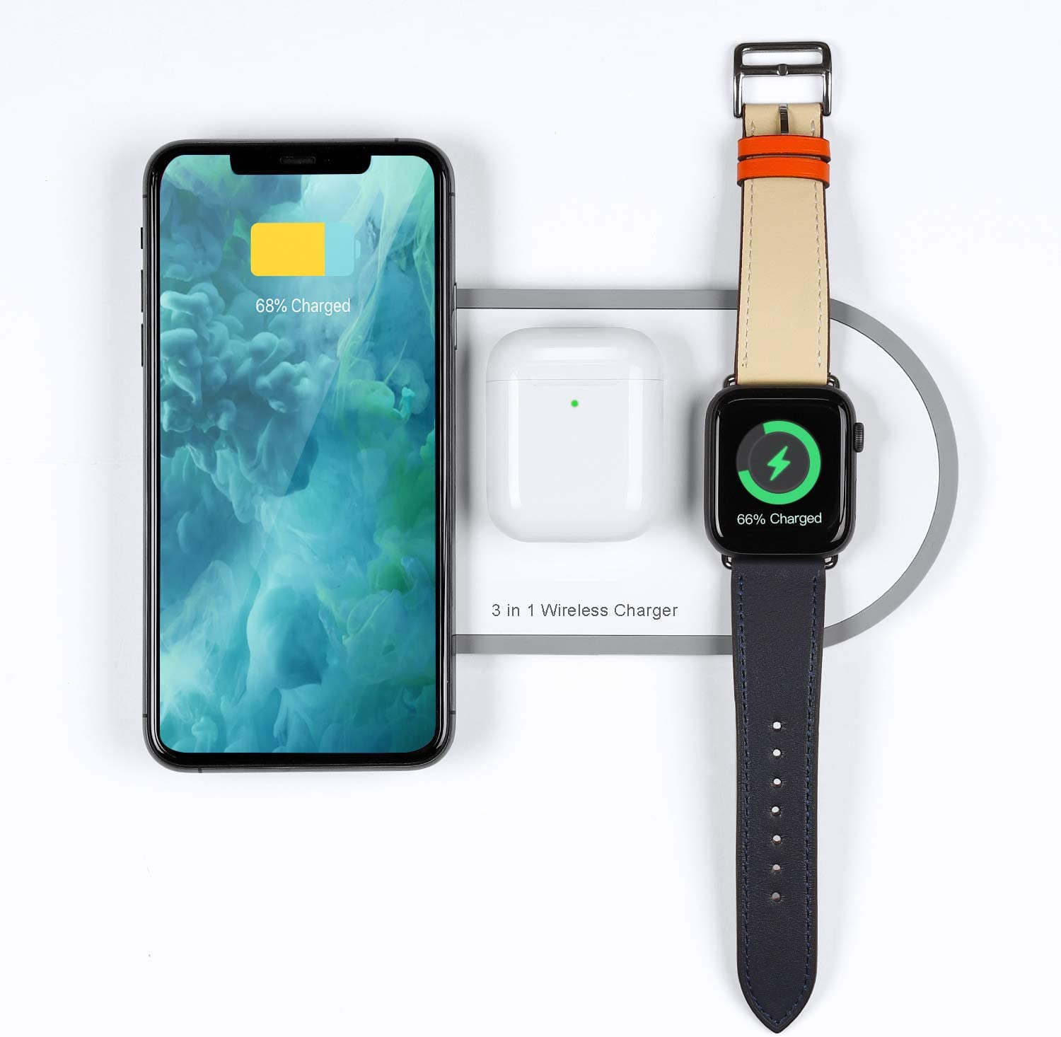 Wireless 3 in 1 Charger Pad for Fast Charging Station Dock Mat for Apple iWatch Series 5 4 3 2 1 AirPods Charger for iPhone 11 11 pro Xs Max Xr X 8 8 Plus for Android Smartphone All qi-Enabled Devices