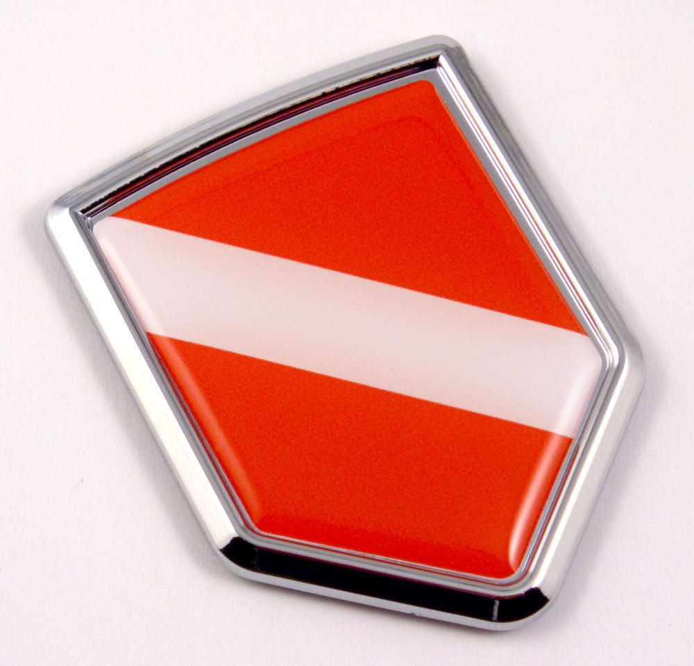 Car Chrome Decals CBSHD-DIVE Dive Flag Diver Scuba Diving Car Chrome Emblem 3D Decal Sticker