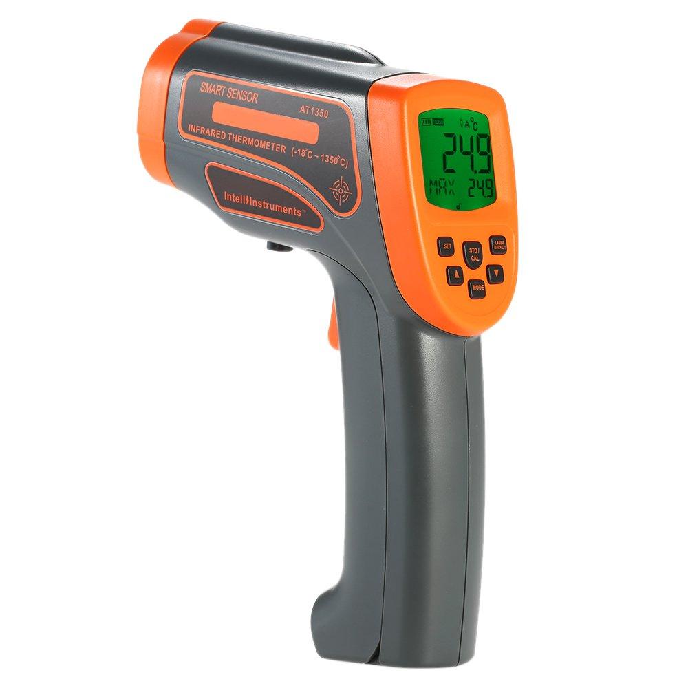 KKmoon -18 ~ 1150° C Infrarot Thermometer mit Werkzeugkoffer, Mini Tragbar USB Berü hrungslose Pyrometer mit LCD Hintergrundbeleuchtung Datenspeicherung Centigrade Fahrenheit Einstellbar Grau Orange