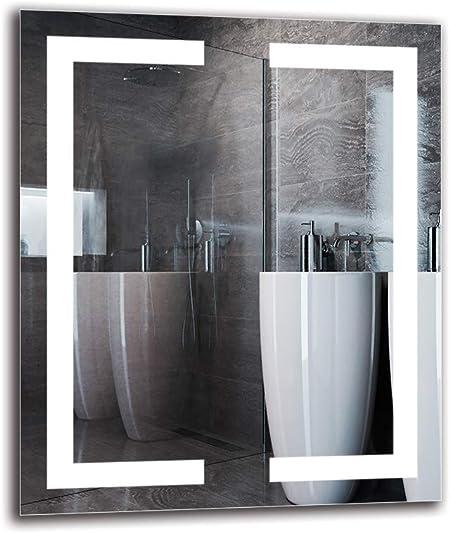 Pronto per Essere Appeso Dimensioni dello Specchio 40x40 cm Specchio con Illuminazione Bianco Caldo 3000K Specchio LED Premium ARTTOR M1CP-48-40x40 Specchio per Bagno Specchio a Muro