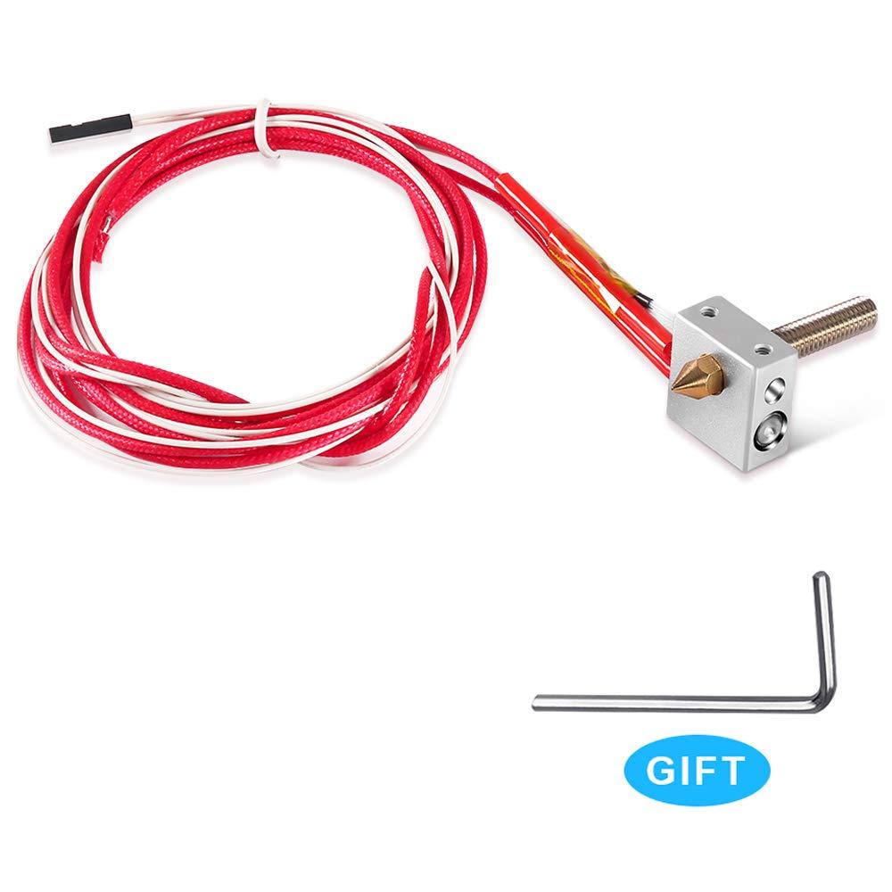 MK8 DIY Hot End Kit 0.4mm for A8 3D Printer, Assembled Extruder Kits 1.75mm, Brass Extruder Nozzle, 30mm A8 Throat Teflon Tubing Aluminum Heater Block for RapRep i3 Anet A2 A8 3D Printer Part Replacement Dorhea