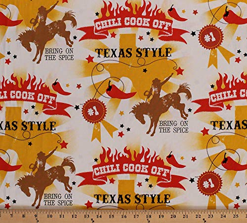 (Cotton Texas Style Cowboys Rodeo Chili Peppers Western Ranch Country Cotton Fabric Print by The Yard (M713.17))