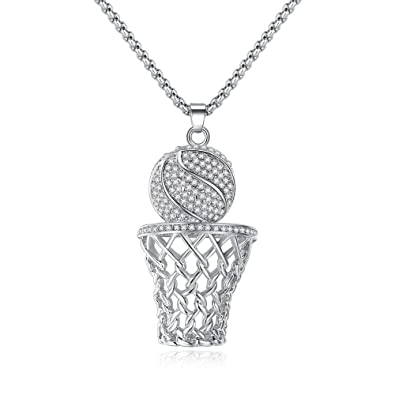 Amazon.com  ATDMEI Sports Basketball Pendant Necklace Sterling Silver  Plated Hoop for Women Girls Zircon Jewelry Gifts  Jewelry 10e76bce96