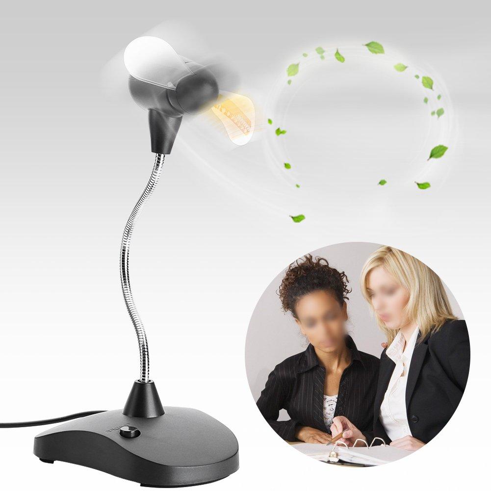 Fosa Desktop Adjustable Flexible USB Base LED Clock Cooling Fan For PC Notebook Time Display