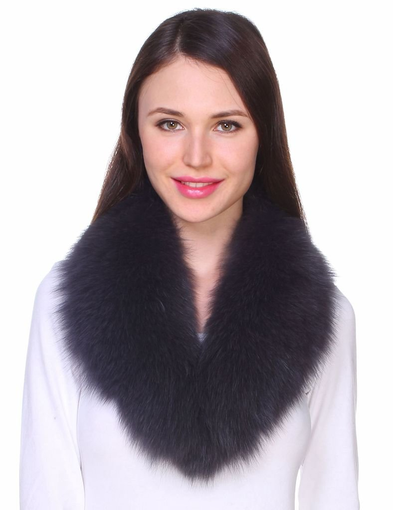 Ferand Ladies Women's Detachable Genuine Fox Fur Shawl Collar for Parka Leather Jacket Winter Coat Dark grey 31.5 inches