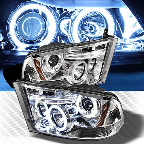 Dual CCFL Halo LED 2010-2017 Dodge Ram Projector Headlights Head Lights Lamp Pair Left+Right 2010 2011 2012 2013 (Ccfl Halo Projector Headlights Lamps)