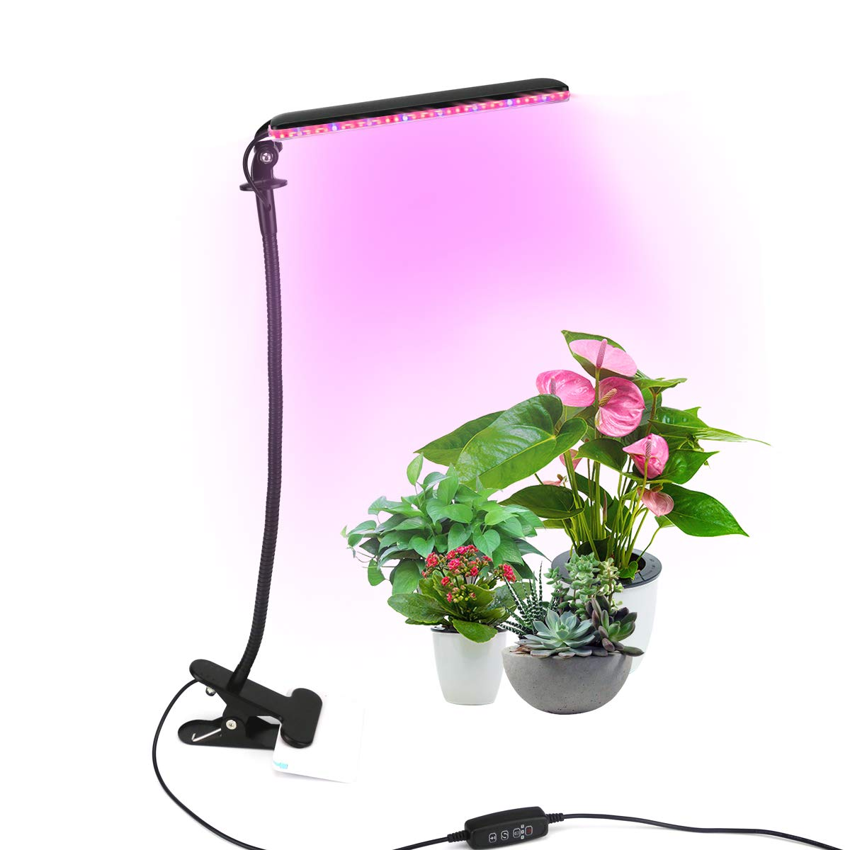 TOPK Plant Light, 24W 48 LED Grow Lamp with Red/Blue Spectrum for Indoor Plants Flexible Adjustable Gooseneck 3/6/12H Timer 5 Dimmable Levels Plant Grow Light Bulb
