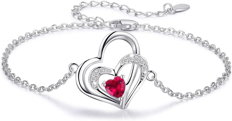 Kette Herz Damen Halskette 925 Sterling Silber Doppel Herz Anh/änger mit Zirkonia Geschenke f/ür Frauen M/ädchen Freundin Mutter