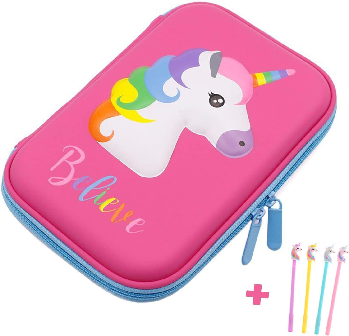 Estuche, diseño unicornio EVA estuche papelería caja de lápiz antigolpes para los alumnos de la escuela las niñas adolescentes niños: Amazon.es: Oficina y papelería