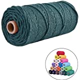flipped 100% Natural Macrame Cotton Cord,3mm x109 Yard Twine String Cord Colored Cotton Rope Craft Cord for DIY Crafts Knitting Plant Hangers Christmas Wedding Décor, Blackish Green, 3mm*109yards