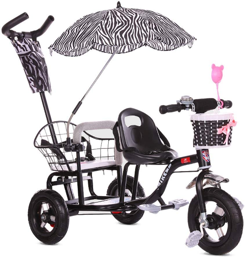 CHEERALL ChildrenS Double Tricycle Bicycle,Twin Baby Stroller With Folding Pedal,Summer Baby Pushchair Double Seat Buggy for Kids Age 1-6 Years Old,Black