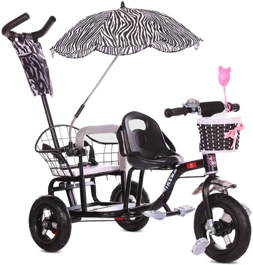 CHEERALL Bicicleta de Triciclo Doble para niños, Cochecito de bebé Doble con Pedal Plegable, Cochecito de Doble Cochecito de Verano para niños de 1 a 6 años de Edad,Black