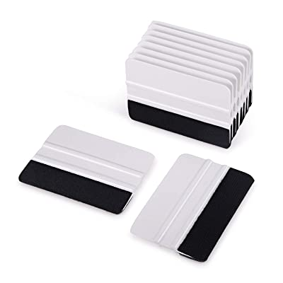 Ehdis [10PCS Felt Edge Squeegee 4 inch for Car Vinyl Scraper Decal Applicator Tool with Black Fabric Felt Edge - White PP Scraper: Automotive