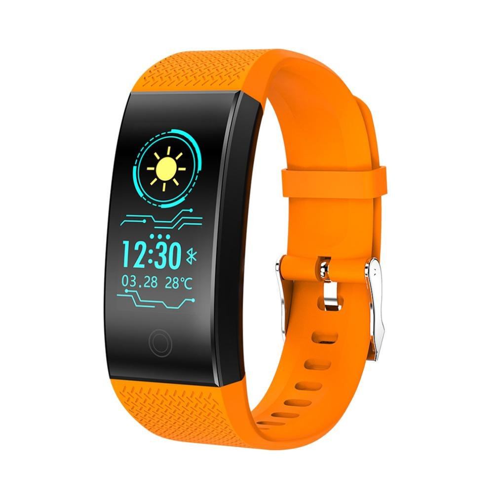 Lywey QW18 Smart Fitness Tracker, Wristband Bracelet For BT Andriod and ios [Blood Pressure] [Heart Rate] [Sleep Pedometer] [Touch Screen] [Blood Oxygen Monitor] (Orange)