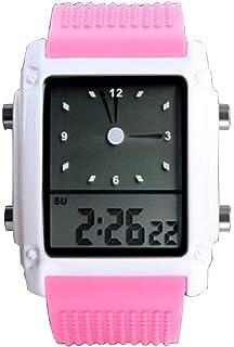 niñas Rosado Lindo Deporte llevó el Reloj Digital de Pulsera de Silicona Hora Dual analógico Reloj