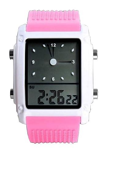 niñas rosado lindo deporte llevó el reloj digital de pulsera de silicona hora dual analógico reloj agradable zona de las nuevas mujeres: Amazon.es: Relojes