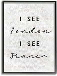 Stupell Industries White London I See France Textured Typography Black Framed Wall Art, 11 x 14, Design by Artist Daphne Polselli