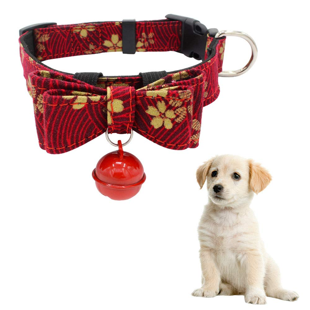 Hpapadks Detachable Bow Hanging Bells Pet Dog Collar,Adjustable Bow Necklace Printed Collar with Bell Dog Puppy Pet Dog Collars