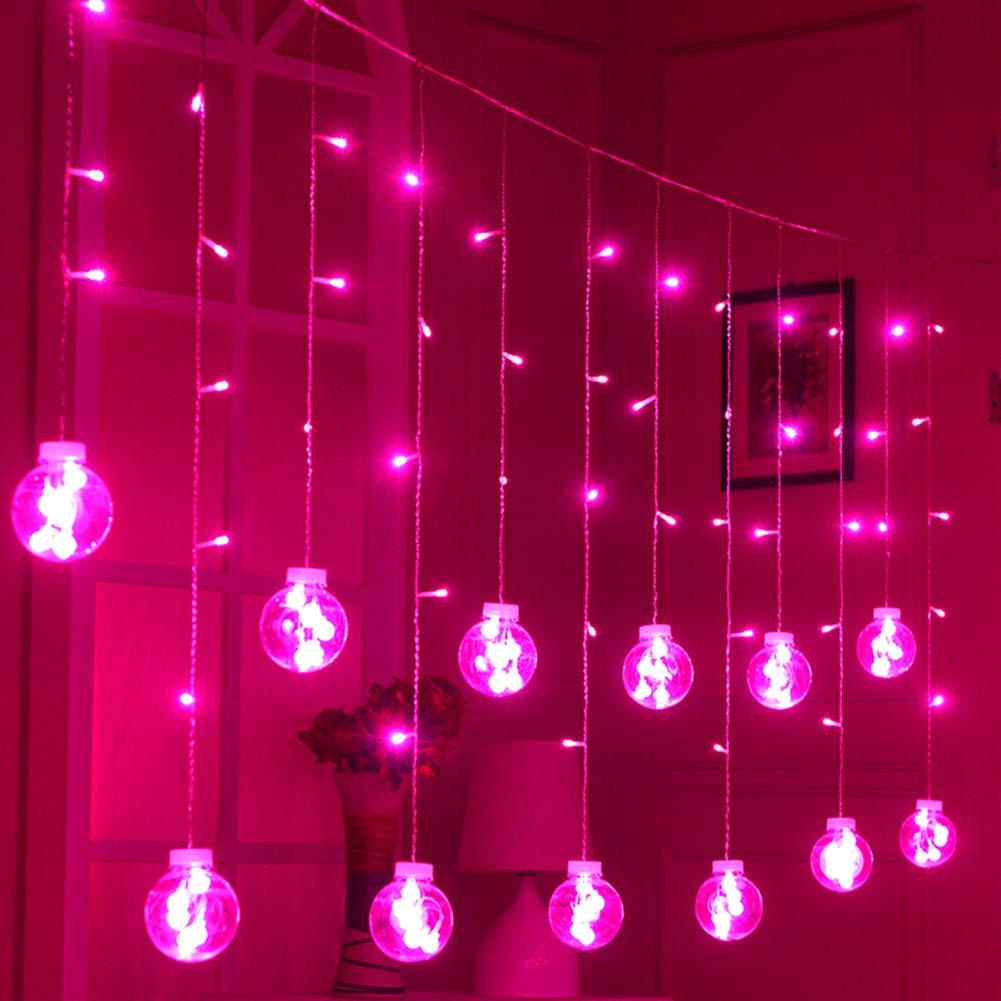 GLXQIJ LED Window Wishing Ball Curtain String Lights 8 Flash Mode 2.5M × 0.8M 108 LEDs con Spina Indoor Party Bar Balcone Matrimonio Natale Giardino Decorazione Domestica Tensione di Sicurezza, White [Classe di efficienza energetica A]