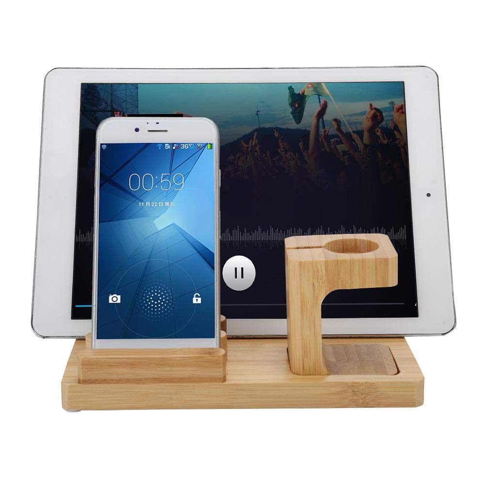 Zopsc Wireless Multi-Port Mobile Phone Tablet USB Charging Base Desktop Bamboo Charger Bracket Suitable for Office, Home, Cars, etc. by Zopsc