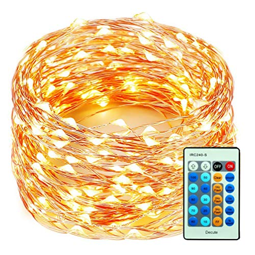 (Decute 99 Feet 300 LEDs Copper Wire String Lights Dimmable with Remote Control, Christmas Lights with UL Cerficated for Party Wedding Bedroom Christmas Tree, Warm White)