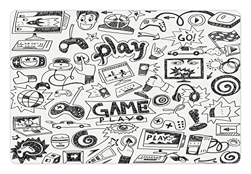 Ambesonne Video Games Pet Mat for Food and Water, Monochrome Sketch Style Gaming Design Racing Monitor Device Gadget Teen 90's, Rectangle Non-Slip Rubber Mat for Dogs and Cats, Black (Black Monochrome Monitor)