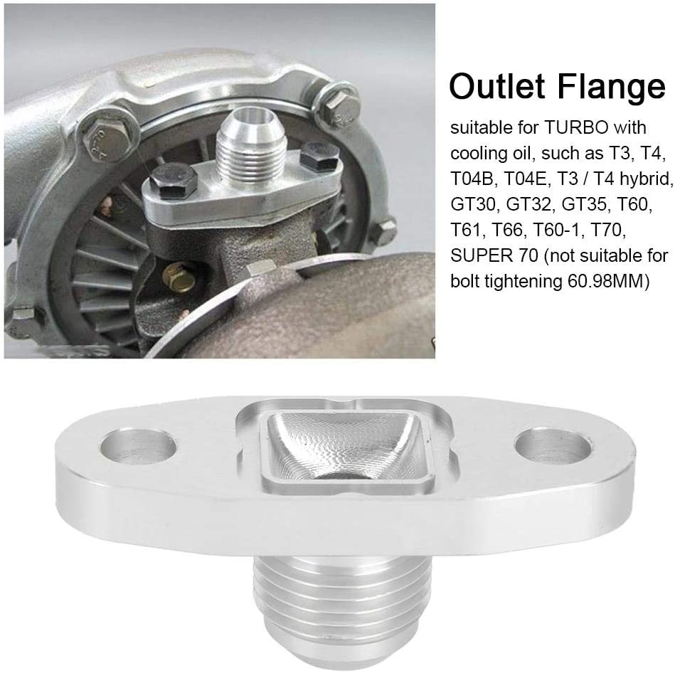 T4 Duokon Aluminum Flange Gasket Adapter Kit Turbo Oil Drain Outlet Flange Gasket Adapter for AN10 T3