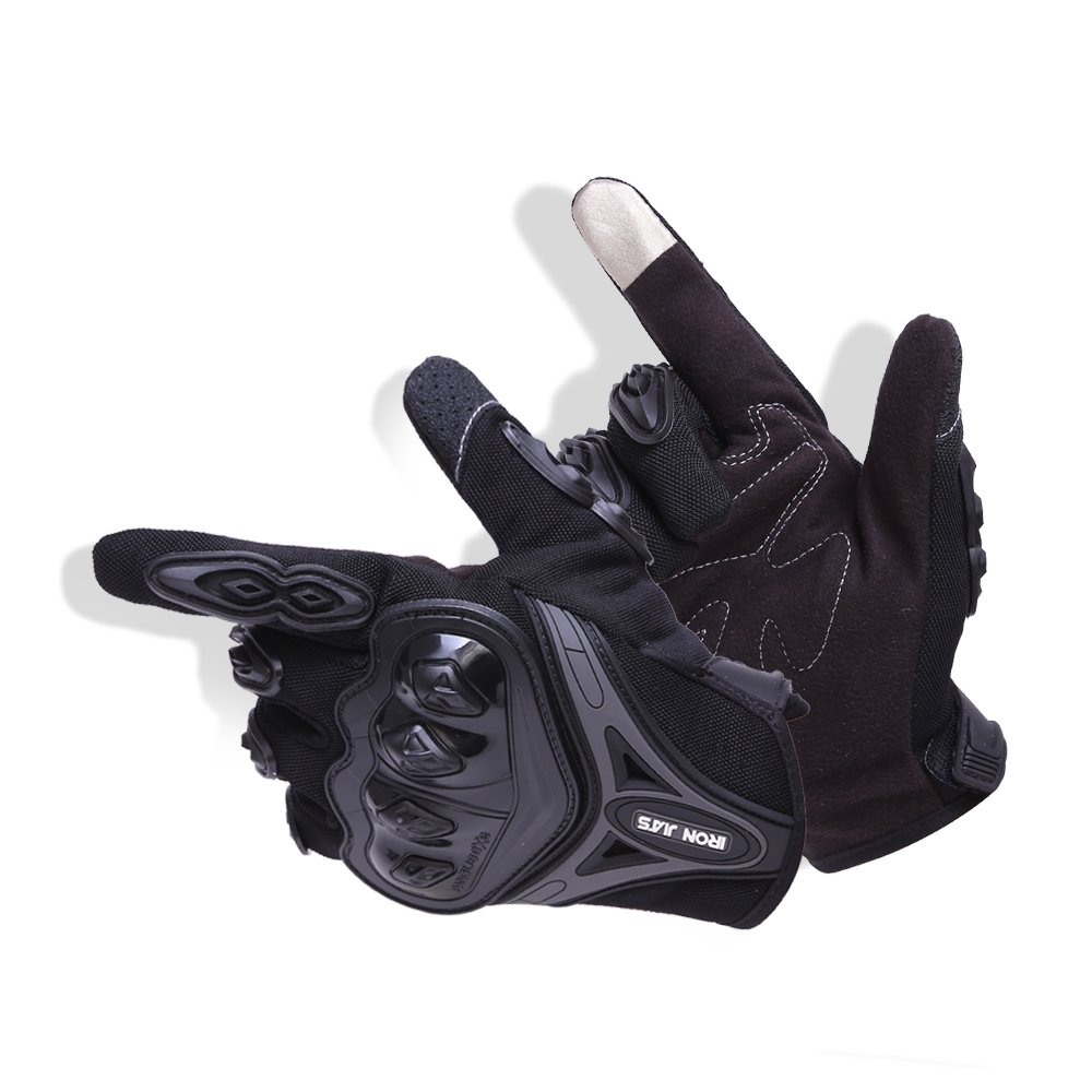 L, negro IRON JIAS Par Guantes Dedo Completo PU Proteccion para Moto Bici Motocicleta Motorista puede pantalla t/áctil /…
