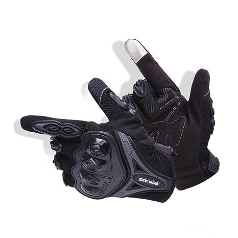 IRON JIAS Par Guantes Dedo Completo PU Proteccion para Moto Bici Motocicleta Motorista puede pantalla táctil